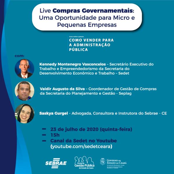 Compras Governamentais – uma oportunidade para Micro e Pequenas Empresas será tema de live promovida pela Sedet